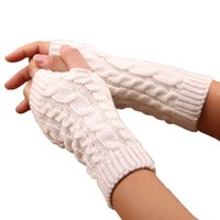 Wholesale hand gloves for girls resale online - New Knitted Long Hand Gloves Women Warm Embroidered Winter Gloves Fingerless For Women Girl Guantes Invierno Mujer Luvas