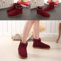 Wholesale women suede boots resale online - The Hot sell AUS classical Short Mini GU women snow boots keep warm boot fashion Light skin womens booties winter shoes size35
