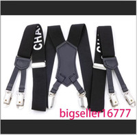 New Factory Direct Men's and women Suspenders Six Clip 3.0 Printing Strap 3.0 * 115cm Six Clip Character Webbing Six Clip Wide Strap C