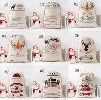 Wholesale dog gift bags resale online - Christmas Bags Cotton Canvas Kids Candy Gift Bag Dog Dinosaur Bear Sacks Canvas Drawstring Bag Xmas Gift Storage Bag Decoration GWC2626