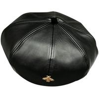 Women's elegant trend PU leather hat winter autumn warm artificial leather berets for ladies gold bee female brand designer cap