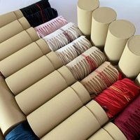 Wholesale round scarfs for sale - Group buy With Round Tube Box Winter Unisex Top Cashmere Scarf Classic Check Scarfs Women Men Pashmina Luxury Shawls and Scarves
