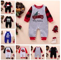 Wholesale tree outfits resale online - Christmas Baby Rompers Xmas Tree Cartoon Long Sleeve Jumpsuit Newborn Boys Girls One piece Pants Toddler Infant Kids Romper Outfit E102202