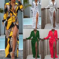 Sexy Luxury Women Dresses Fashion Long Sleeve Lace Up V Neck Long Dress Autumn Designer Women Clothes