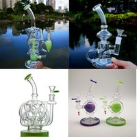 Wholesale oil rig egg recycling resale online - Oil Bongs Fab Recycle Perc Klein Glass Dab Rigs Turbinr Bong mm mm Joint Water Pipes Head Egg Thick With Shower Double Kqreq