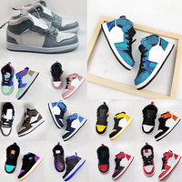 Wholesale Infants s Toddler Basketball Shoes Kid Shoes Game Royal Scotts Obsidian Chicago Bred Sneakers Melody Mid Multi Color Tie Dye Kids Shoes