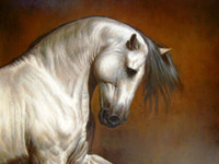 Wholesale white horses painting art for sale - Group buy Animal white horse head Home Decor Handpainted HD Print Oil Painting On Canvas Wall Art Canvas Pictures