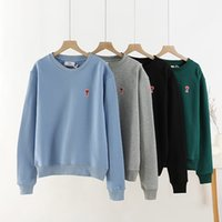 Wholesale small long beads resale online - 2020fw popular Mens Designer small heart embroidery sweater AMI Pullover luxury Long sleeve Sweatshirt outdoor streetwear top quality