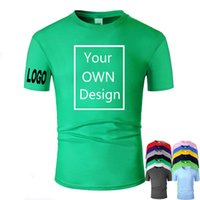 Discount print your t shirt Delivery Soon Customized Men Women Customized T Shirt Print Like Photo or Logo Text DIY Your OWN Design 100% Cotton Green TShirt