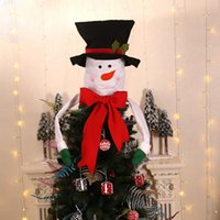 Wholesale topper hats for sale - Group buy Christmas Santa Claus Snowman Hugger With Hat Poseable Arms Tree Toppers Holiday Ornaments Party Decorations