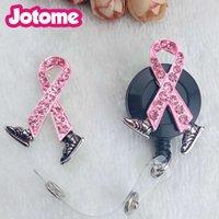 Wholesale breast cancer brooch for sale - Group buy Pink ribbon breast cancer awareness brooch medic ID Badge Holder Enamel Working Card Holder For Nurse