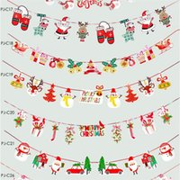 Wholesale home decors stores resale online - Christmas Pull Xmas Bunting Banners Flags Christmas Decoration For Home Outdoor Garden Store Party Xmas Banner Flag Pulling Decor EWC2712