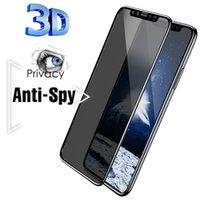 Wholesale 3D Anti Spy Peep Privacy Tempered Glass For iPhone Pro XS Max XR X Screen Protector for iPhone S Plus SE Film