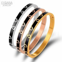 Wholesale vintage enamel bangles for sale - Group buy Fysara Vintage Black Enamel Bangles Bracelets For Women Gold Heart Bangles With Resin Stainless Steel Jewelry Bijoux bbyvwR bde_home