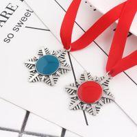 Wholesale christmas santa key resale online - Christmas Decoration Magic Santa Claus Snowflake Key Chain Pendant Xmas Tree Ornaments Gifts DIY Necklace Jewelry BWF2563