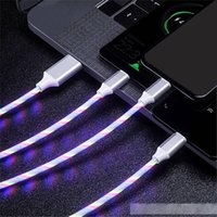 Wholesale flowing led cables for sale – best 3 in Flowing Light Cable A Qucik Charging LED Glowing Data Cable Type C Micro USB Streamer Charger For Samsung Huawei