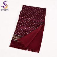Wholesale maroon top resale online - BYSIFA New Maroon Male Silk Scarf Tie Thicken Fashion Top Grade Silk Men Neck Scarf Winter Long Scarves Cravats cm