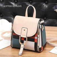 Wholesale shool bags resale online - Vintage Women Handbags Luxury PU Leather Contrast Color Shool Female Bag Style Designer Shoulder Bag Sac Messenger Travel Bags