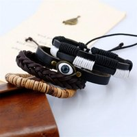 Wholesale leather braclets for sale - Group buy Eif Dock Evil Eye Bracelet Sets For Mens Charms Leather Bracelet Wooden Beaded Braclets Women Fashion Accessories Jewelry sqcxHc new_dhbest
