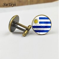 Wholesale uruguay shirt resale online - Suteyi Suit Newest Wedding Print Glass Shirt Football Uruguay Men Design Quality Cufflinks Party Flag Handmade Jewelry With sqcuKA