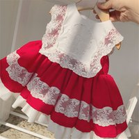 Wholesale Baby Girl Spring Summer Red Lace Sleeveless Vintage Spanish lolita Princess Ball Gown Dress for Girl Birthday Easter Dress