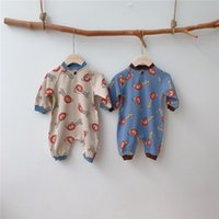 Wholesale organic wool flannel for sale - Group buy TLK Korean New Stylish INS Infant Baby Boys Girls Rompers Great Qaulity Knitted Cotton Thick Front Buttons Long Sleeve Baby Boys Jumpsuits