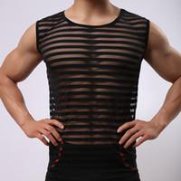 Wholesale sheer silk underwear for sale - Group buy Men Undershirt Male Sexy Mesh Transparent Striped O neck Singlets Mens Sheer Ice Silk Underwear
