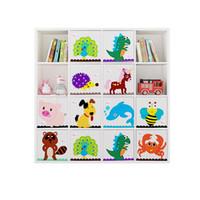 Wholesale baby clothes storage boxes resale online - 13 inch Cube Children Storage box Cartoon Fabric Animal Toy Storage Box Clothes Storage Bin For Baby Chest Basket Organizer Box Y1113