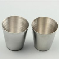 Wholesale shot glasses free shipping for sale - Group buy Portable Shot Glass Stainless Steel Wine Glasses Wine Beer Whiskey Tumblers Outdoor Beach Cup ml Yw126