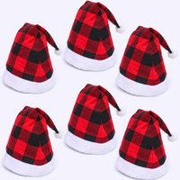 Wholesale winter captain cap resale online - Plaid Christmas Hat Plaid Knitted Pom pom Beanie Cap Xmas Bufflao Plaid Hats Fashion Winter Warm Knitting Caps Decorations BWA1127
