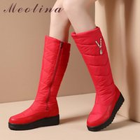 Wholesale wine red platform shoes resale online - Meotina Knee High Boots Woman Flat Platform Snow Boots Round Toe Long Zipper Crystal Female Shoes Winter Warm Wine Red
