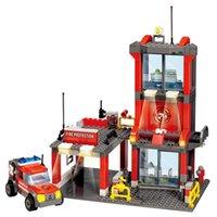 Wholesale fire bricks resale online - 300pcs City Fire Station Building Blocks Compatible Firefighter Bricks Figures Truck Car Playmobil Toys For Children bbyfec bdetoys