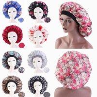 Wholesale slik flowers for sale - Group buy Large Satin Bonnet Sleeping Cap Flower Pattern Slik Salon Bonnet Wide Elastic Band Cap for Women Haircare HHA1623