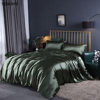 Wholesale silk bedding sets comforters for sale - Group buy Vescovo Mulberry Silk Bedding Sets Bed Linen Dekbedovertrek Queen Bed Fitted Sheet Comforter Cover Sets T200826