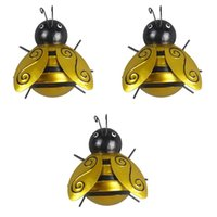 ingrosso scultura in metallo-Bugs 3pcs Honey Bee Metal Craft Hanging Wall Sculpture Garden Art Decor