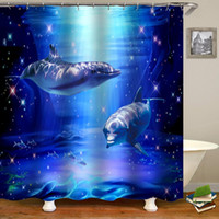 Wholesale dolphin shower curtain resale online - Ocean Design Curtain Home Decoration Mat Waterproof Shower Rugs In Slip With Cover Toilet Non Fabric Set Dolphin Bathroom d yxlEAp