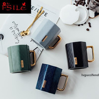 Wholesale japanese mugs resale online - 350ml Japanese Simple Ceramics Mark Cup INS Women s Creative Office Couple Coffee Cups Home Water Mug with Cover Spoon T200506