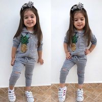 Wholesale infant sports clothes resale online - Baby Girl Sports Clothes Clothing Set Long Sleeve Sequin Pineapple Hooded Coat Pants Fashion Infants Wear Winter Autumn Outfits