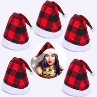 Wholesale blue santa claus costume resale online - Christmas Santa Claus Plaid Hats Christmas Decor Adult Grid Hats Christmas Decorations Hats Xmas Party Santa Claus Costume Caps DHA1985