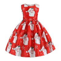 Wholesale santa claus clothes for girls resale online - Christmas Dress For Kids Girls Santa Claus Printing Baby Girls Princess Dress For Halloween Party Dress Years Girl Clothes bbypot