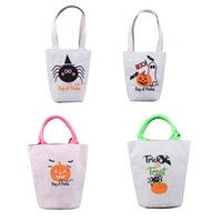 Wholesale tote bags for eco for sale - Group buy Halloween Trick Or Treat Tote Bag With Handles Reusable Canvas Bag For Candy Gifts Grocery Favors Shopping For Kids Adults BWB2079