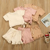 Discount knitted baby clothes boy INS Baby Kids Girls Boys Children Clothing Sets Knitted Cotton Suits Front Buttons Tops Straps Shorts 2Pieces Summer Outfits