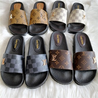 Wholesale high sandals shoes resale online - Mens and womens fashion brand L Beach Leather slippers V Thong Sandals Designer slides Flat Flip Flops High quality luxury channel Shoes