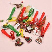Wholesale pendant glue resale online - Cartoon Cute Christmas Keychain PVC Soft Glue Christmas Gift Pendant Car Bag Ornament Accessories Key Chain Party Favor Styles RRA3735