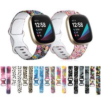 Wholesale silicone watches for women for sale - Group buy Silicone Pattern Printed Watchband for Fitbit Versa Women Men Floral Bracelet Band for fitbit Sense Versa3 Smart Watch Strap