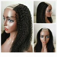 Wholesale braid ends resale online - Afro Kinky Curly U Part Human Hair Wigs For Black Women Middle Part Raw Virgin Indian Glueless Lace Front Wig Cheap Braided Wig Full End