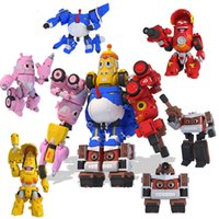 Wholesale 5pcs set High Quality ABS Fun Larva Transformation Toys Action Figures Deformation Car and Mecha Mode for Birthday Gift