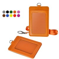 Wholesale leather lanyard card holder for sale – best Newest Cheapest Badge Holder PU Leather Vertical ID Card Wallet Case with Detachable Lanyard Strap Business For Women and Men High Quality