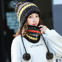 Wholesale linen viscose yarn resale online - Autumn Winter Women Hat Scarf Set Striped Trendy Knitted Casual Multi Functional All match Womens Kawaii Hairball Thicker Hats