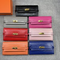 long wallet woman pink 2021 - Top quality Alligator Long Wallets Gold Hardware Leather Women Card holders Purse Bags fashion Cowskin Genuine leather come with box H361